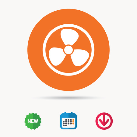 Ventilation icon. Air ventilator or fan symbol. Calendar, download arrow and new tag signs. Colored flat web icons. Vector