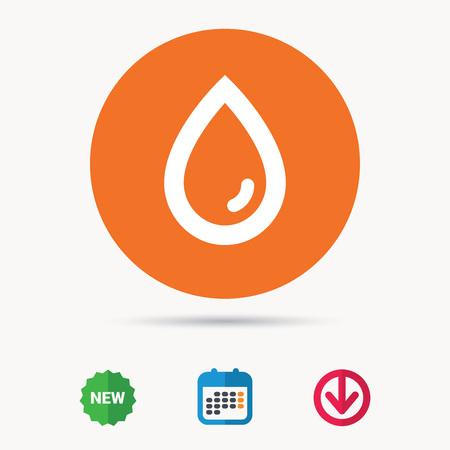 Water drop icon. Natural aqua symbol. Calendar, download arrow and new tag signs. Colored flat web icons. Vector Illustration