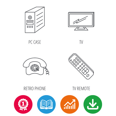 pc case: TV remote, retro phone and TV remote icons. Widescreen TV linear sign. Award medal, growth chart and opened book web icons. Download arrow. Vector