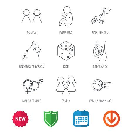 妊娠、小児および家族計画アイコン。赤ちゃん子供線形標識及び監理、無人。サイコロ、男性と女性のアイコン。新しいタグ、盾およびカレンダー