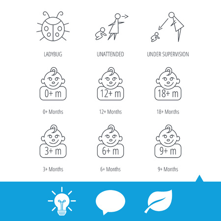 Infant child, ladybug and toddler baby icons. 0-18 months child linear signs. Unattended, parents supervision icons. Light bulb, speech bubble and leaf web icons. Vector Imagens - 75403511