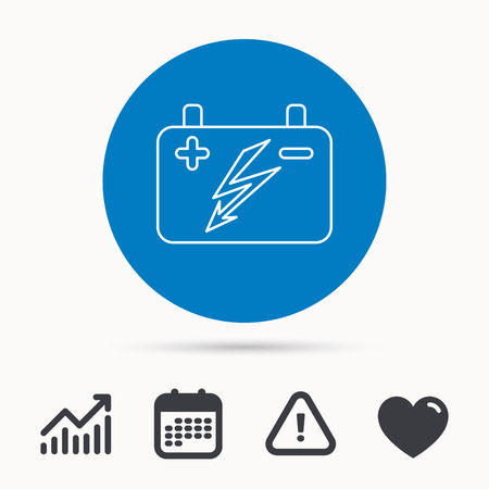 emitter: Accumulator icon. Electrical battery sign. Calendar, attention sign and growth chart. Button with web icon. Vector