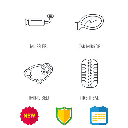 tread: Tire tread, car mirror and timing belt icons. Muffler linear sign. Shield protection, calendar and new tag web icons. Vector