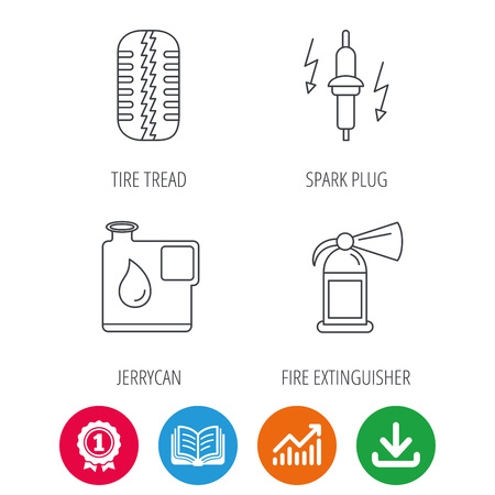 fire plug: Wheel, fire extinguisher and spark plug icons. Fuel jerrycan, tire tread linear signs. Award medal, growth chart and opened book web icons. Download arrow. Vector