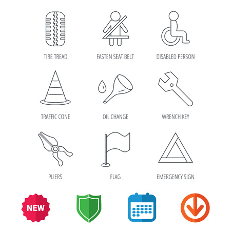 oil change: Tire tread, traffic cone and wrench key icons. Emergency triangle, flag and pliers linear signs. Disabled person icons. New tag, shield and calendar web icons. Download arrow. Vector