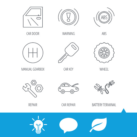 Car key, repair tools and manual gearbox icons. Wheel, warning ABS and battery terminal linear signs. Light bulb, speech bubble and leaf web icons. Vector Illustration