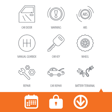Car key, repair tools and manual gearbox icons. Wheel, warning ABS and battery terminal linear signs. Download arrow, locker and calendar web icons. Vector Illustration