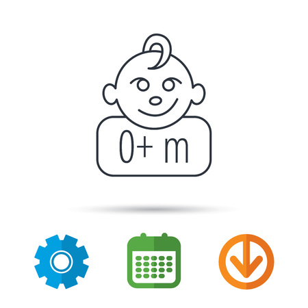 Baby face icon. Newborn child sign. Use of one months and plus symbol. Calendar, cogwheel and download arrow signs. Colored flat web icons. Vector