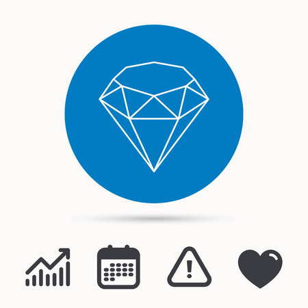 crystal button: Brilliant icon. Diamond gemstone sign. Calendar, attention sign and growth chart. Button with web icon. Vector