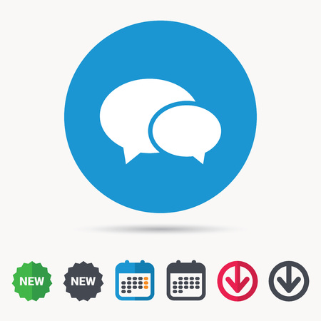 Chat icon. Speech bubble symbol. Calendar, download arrow and new tag signs. Colored flat web icons. Vector Illustration