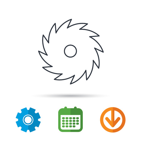 cutoff: Circular saw icon. Cutting disk sign. Woodworking sawblade symbol. Calendar, cogwheel and download arrow signs. Colored flat web icons. Vector Illustration