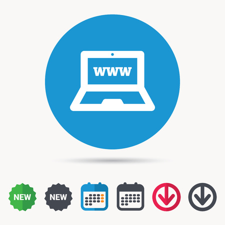 Computer icon. Notebook or laptop pc symbol. Calendar, download arrow and new tag signs. Colored flat web icons. Vector Illustration