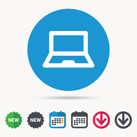 Computer icon. Notebook or laptop pc symbol. Calendar, download.