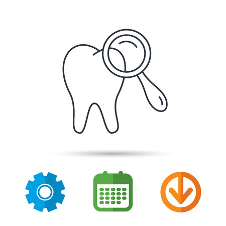 Dental diagnostic icon. Tooth hygiene sign. Calendar, cogwheel and download arrow signs. Colored flat web icons. Vector