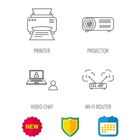 Projector, printer and wi-fi router icons. Video chat linear sign. Shield protection, calendar and new tag web icons. Vector