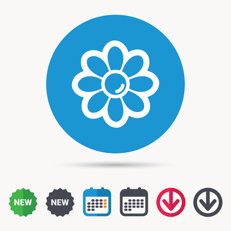 new plant: Flower icon. Florist plant with petals symbol. Calendar, download arrow and new tag signs.