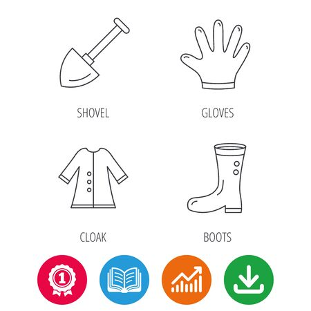 Shovel, boots and gloves icons. Cloak linear sign. Award medal, growth chart and opened book web icons. Illustration
