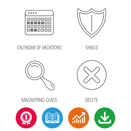 Calendar, magnifying glass and delete icons. Shield linear sign. Award medal, growth chart and opened book web icons. Download arrow. Vector Ilustração