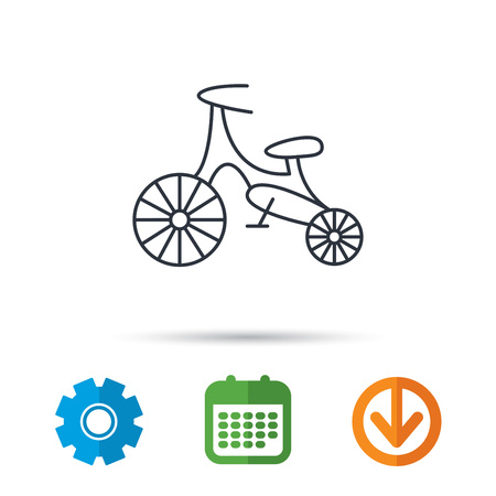 Bike icon. Kids run-bike sign. First bike transport symbol. Calendar, cogwheel and download arrow signs.