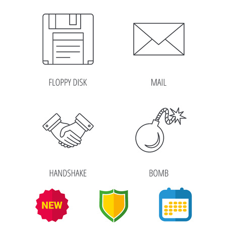 email bomb: Mail, bomb and handshake icons. Floppy disk linear sign. Shield protection, calendar.