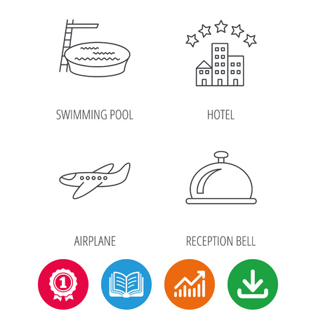 growth hot: Hotel, swimming pool and airplane icons. Reception bell linear sign.