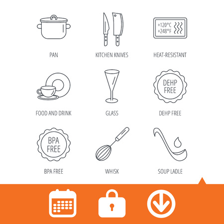Kitchen knives, glass and pan icons. Food and drink, coffee cup and whisk linear signs. Illustration
