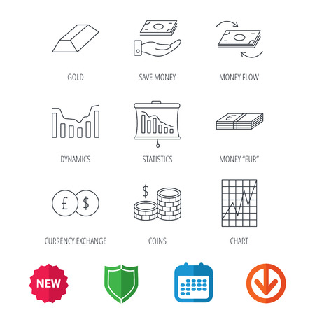 deceleration: Banking, cash money and statistics icons. Money flow, gold bar and dollar usd linear signs. Dynamics chart, coins and savings icons. New tag, shield and calendar web icons. Download arrow. Vector