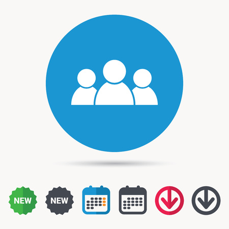 People icon. Group of humans sign. Team work symbol. Calendar, download arrow and new tag signs. Colored flat web icons. Vector