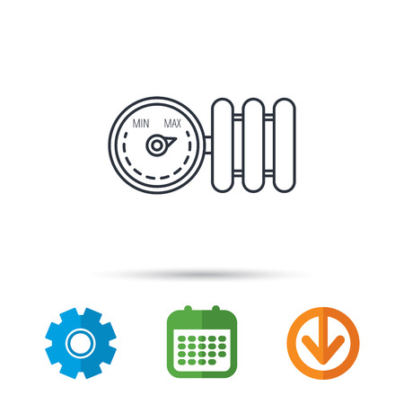 max: Radiator with regulator icon. Heater sign. Calendar, cogwheel and download arrow signs. Colored flat web icons. Vector