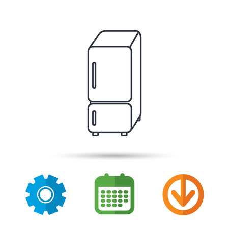 Refrigerator icon. Fridge sign. Calendar, cogwheel and download arrow signs. Colored flat web icons. Vector Illustration