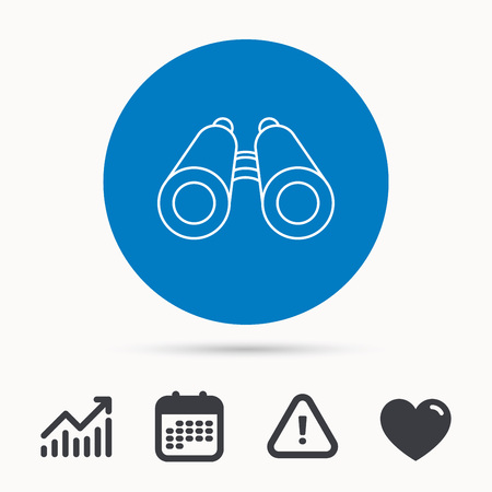 analyst: Search icon. Binoculars sign. Spyglass symbol. Calendar, attention sign and growth chart. Button with web icon. Vector