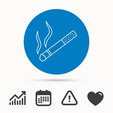 narcotic: Smoking allowed icon. Yes smoke sign. Calendar, attention sign and growth chart. Button with web icon. Vector Illustration