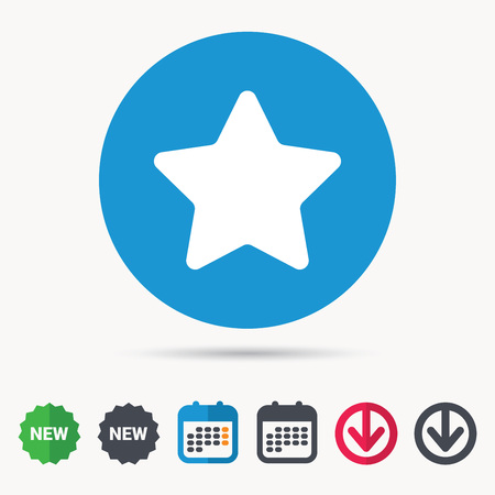 Star icon. Favorite or best sign. Web ranking symbol. Calendar, download arrow and new tag signs. Colored flat web icons. Vector