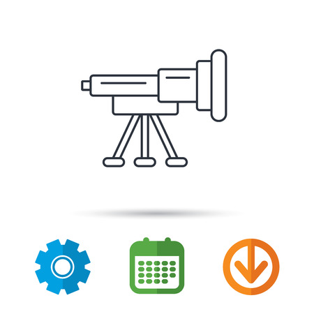 planetarium: Telescope icon. Spyglass sign. Astronomy magnify lens symbol. Calendar, cogwheel and download arrow signs. Colored flat web icons. Vector