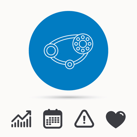 timing belt: Timing belt icon. Generator strap sign. Repair service symbol. Calendar, attention sign and growth chart. Button with web icon. Vector