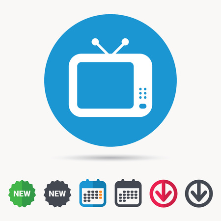 flat screen tv: TV icon. Retro television symbol. Calendar, download arrow and new tag signs. Colored flat web icons. Vector