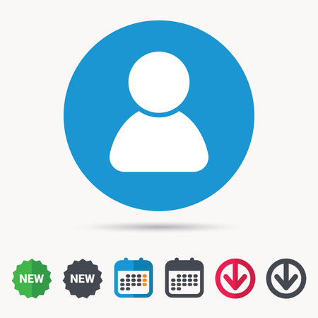 User icon. Human person symbol. Avatar login sign. Calendar, download arrow and new tag signs. Colored flat web icons. Vector