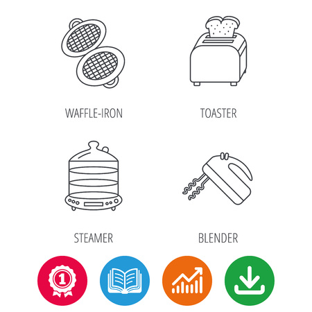 growth hot: Waffle-iron, toaster and blender icons. Steamer linear sign. Award medal, growth chart and opened book web icons. Download arrow. Vector Illustration