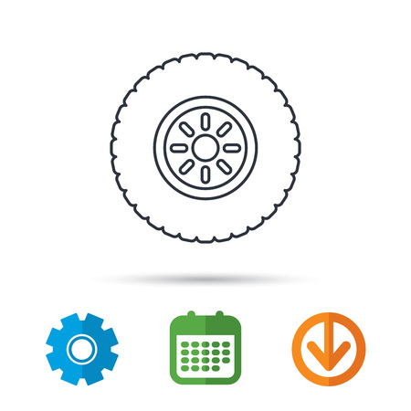 flaring: Car wheel icon. Tire service sign. Calendar, cogwheel and download arrow signs. Colored flat web icons. Vector