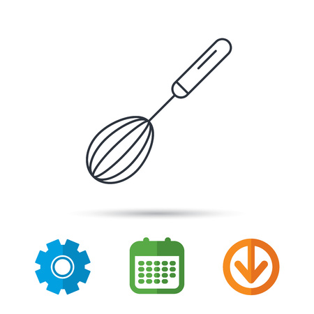 down beat: Whisk icon. Kitchen tool sign. Kitchenware whisking beater symbol. Calendar, cogwheel and download arrow signs. Colored flat web icons. Vector Illustration