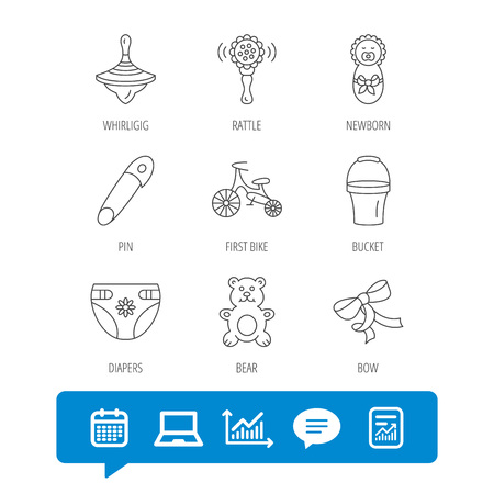 Newborn, diapers and bear toy icons. First bike, bow and pin linear signs. Rattle, whirligig and bucket flat line icons. Report file, Graph chart and Chat speech bubble signs. Vector