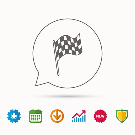 winning location: Finish flag icon. Start race sign. Calendar, Graph chart and Cogwheel signs. Download and Shield web icons. Vector