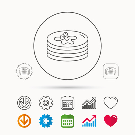 Pancakes icon. American breakfast sign. Food with maple syrup symbol. Calendar, Graph chart and Cogwheel signs. Download and Heart love linear web icons. Vector