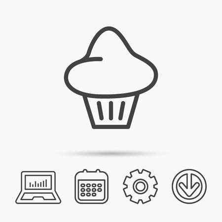 Brioche icon. Bread bun sign. Bakery symbol. Notebook, Calendar and Cogwheel signs. Download arrow web icon. Vector