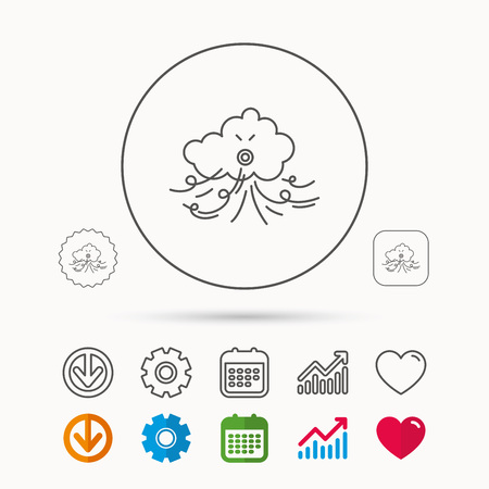 Wind icon. Cloud with storm sign. Strong wind or tempest symbol. Calendar, Graph chart and Cogwheel signs. Download and Heart love linear web icons. Vector Illustration