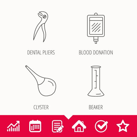 Beaker, blood and dental pliers icons. Clyster linear sign. Edit document, Calendar and Graph chart signs. Star, Check and House web icons. Vector