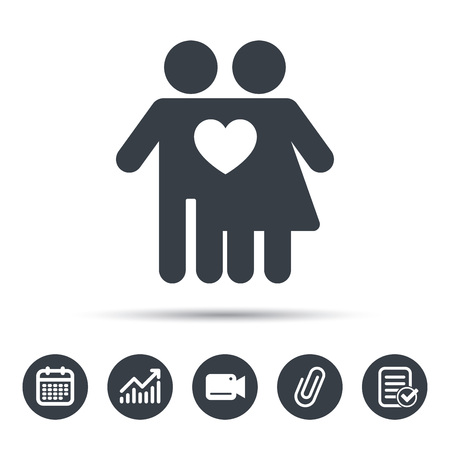 Couple Love Icon Traditional Young Family Symbol Calendar