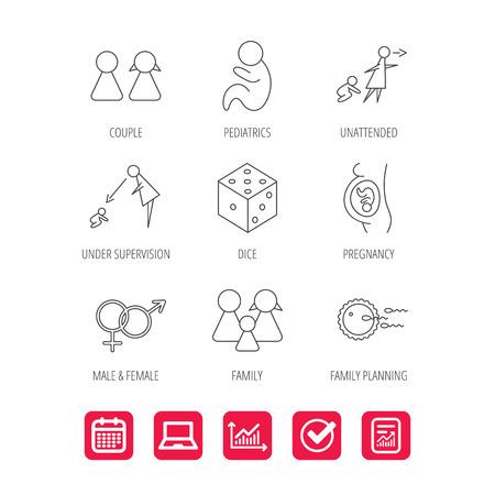 妊娠、小児および家族計画アイコン。赤ちゃん子供線形標識及び監理、無人。サイコロ、男性と女性のアイコン。ドキュメント、グラフおよびカレ