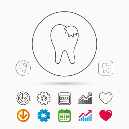 Dental fillings icon. Tooth restoration sign. Calendar, Graph chart and Cogwheel signs. Download and Heart love linear web icons. Vector