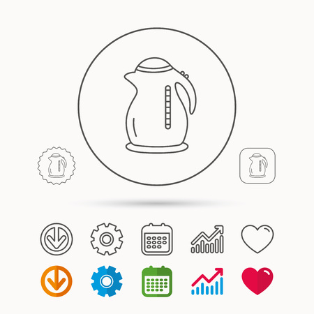 Kettle icon. Kitchen teapot sign. Calendar, Graph chart and Cogwheel signs. Download and Heart love linear web icons. Vector